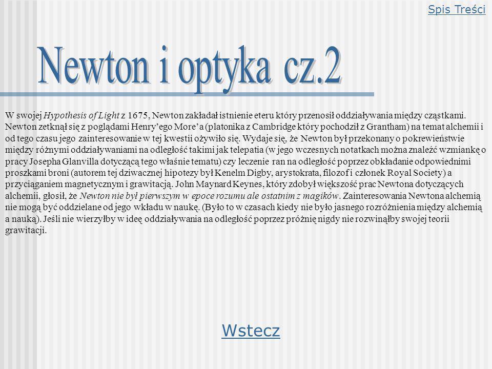 Newton i optyka cz.2 Wstecz Spis Treści