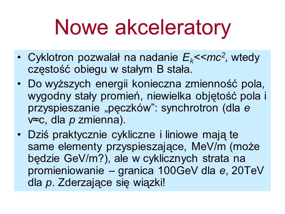Nowe akceleratoryCyklotron pozwalał na nadanie Ek<<mc2, wtedy częstość obiegu w stałym B stała.