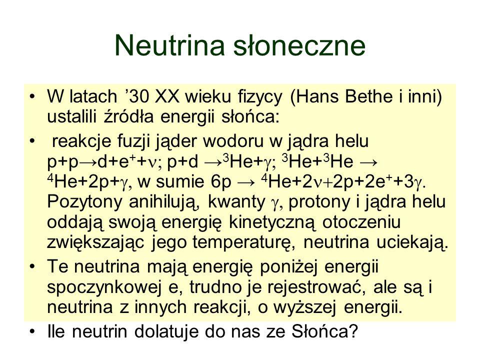 Neutrina słoneczne W latach '30 XX wieku fizycy (Hans Bethe i inni) ustalili źródła energii słońca: