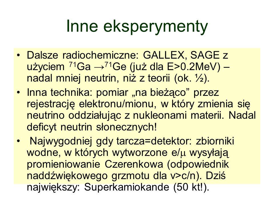 Inne eksperymenty Dalsze radiochemiczne: GALLEX, SAGE z użyciem 71Ga →71Ge (już dla E>0.2MeV) – nadal mniej neutrin, niż z teorii (ok. ½).