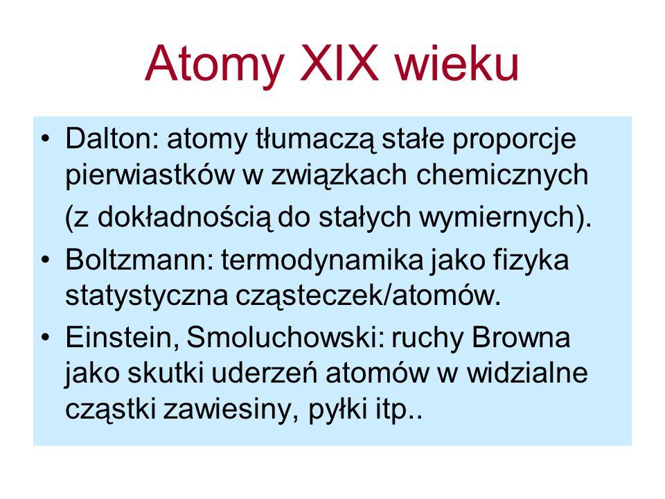 Atomy XIX wieku Dalton: atomy tłumaczą stałe proporcje pierwiastków w związkach chemicznych. (z dokładnością do stałych wymiernych).