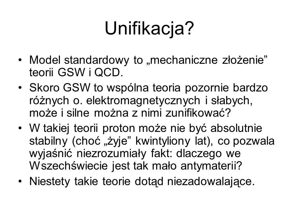 """Unifikacja Model standardowy to """"mechaniczne złożenie teorii GSW i QCD."""