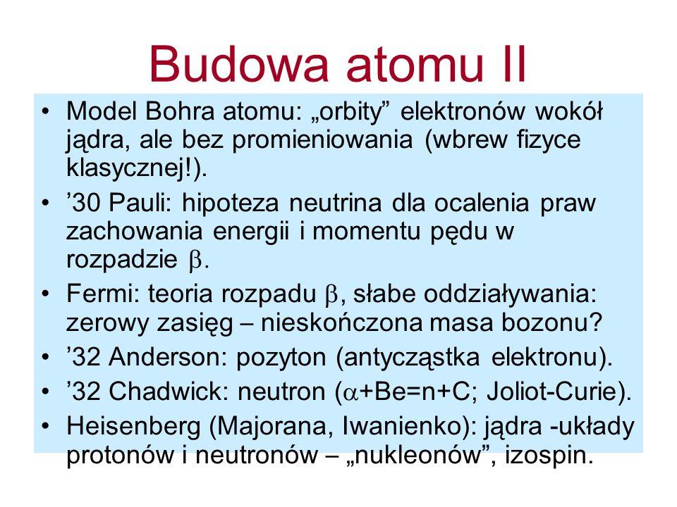 """Budowa atomu II Model Bohra atomu: """"orbity elektronów wokół jądra, ale bez promieniowania (wbrew fizyce klasycznej!)."""