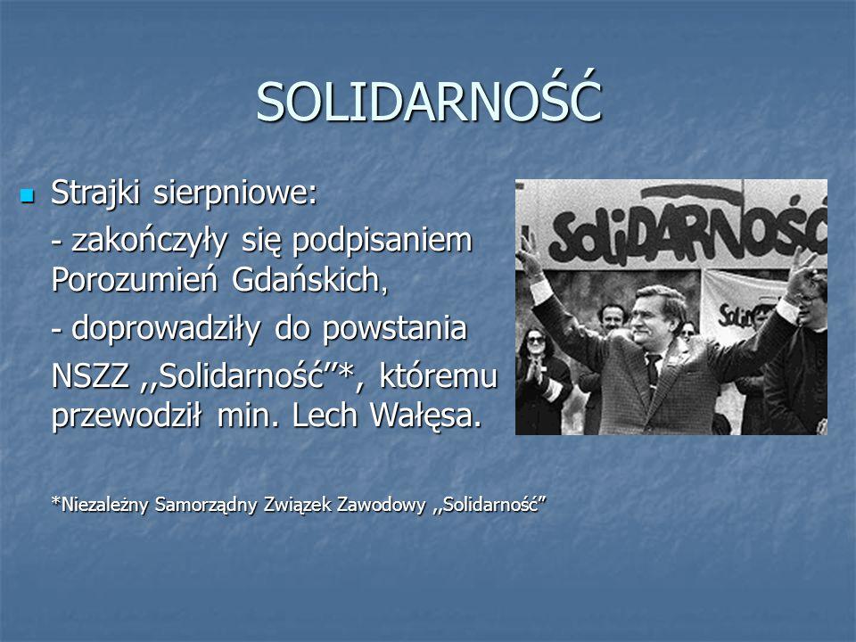 SOLIDARNOŚĆ Strajki sierpniowe: