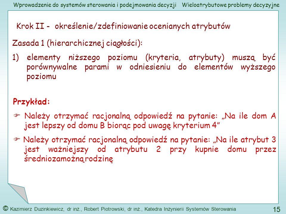 Krok II - określenie/zdefiniowanie ocenianych atrybutów