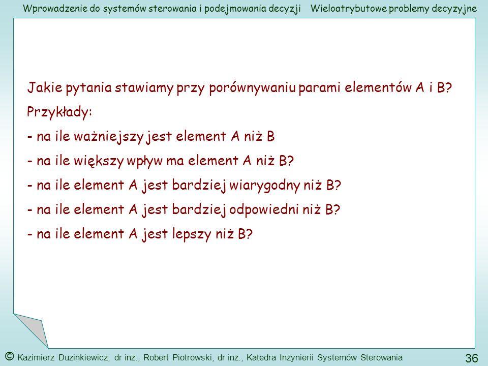 Jakie pytania stawiamy przy porównywaniu parami elementów A i B