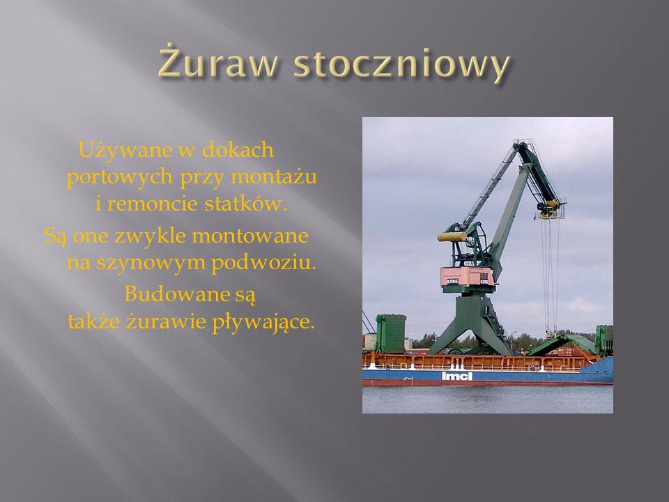 Żuraw stoczniowy Używane w dokach portowych przy montażu i remoncie statków. Są one zwykle montowane na szynowym podwoziu.
