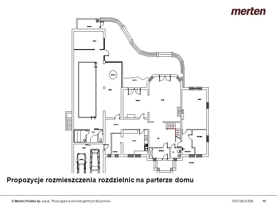 Propozycje rozmieszczenia rozdzielnic na parterze domu