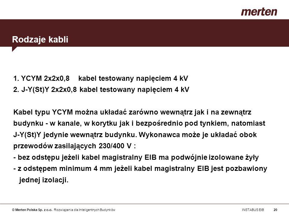 Rodzaje kabli 1. YCYM 2x2x0,8 kabel testowany napięciem 4 kV