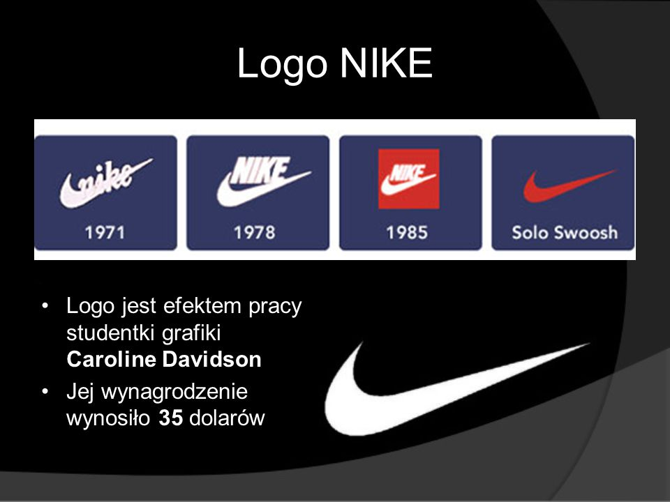 Logo NIKE Logo jest efektem pracy studentki grafiki Caroline Davidson