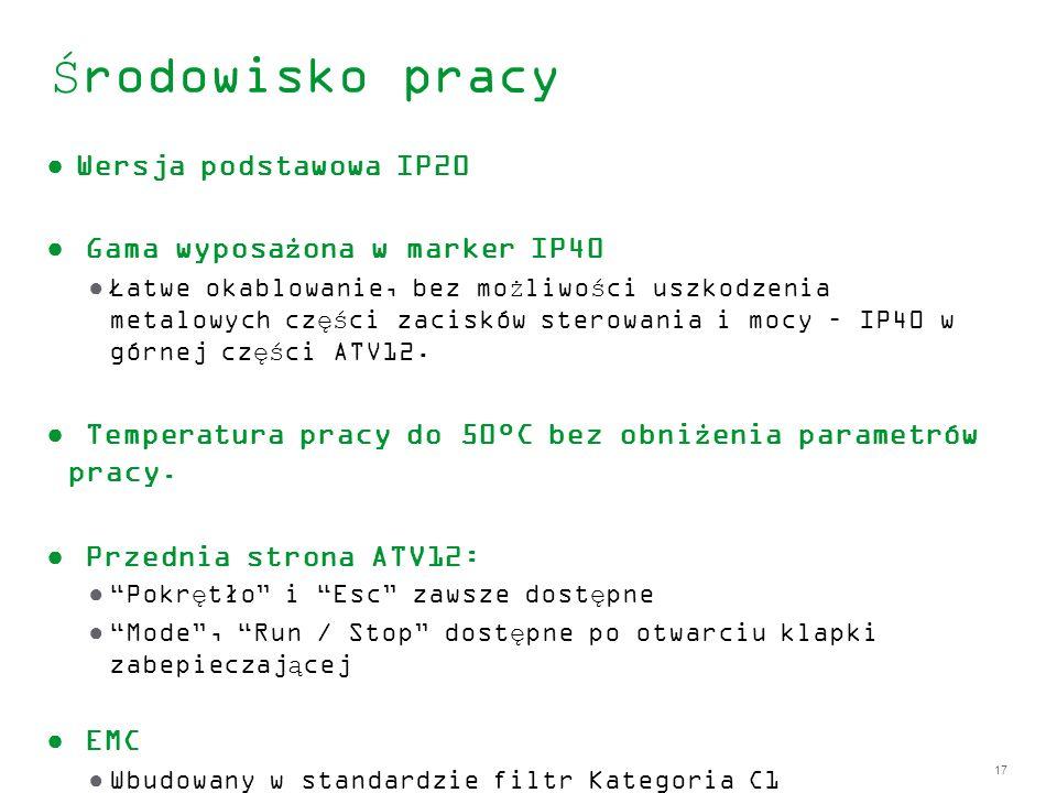 Środowisko pracy Wersja podstawowa IP20 Gama wyposażona w marker IP40