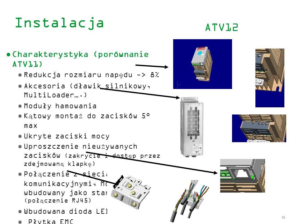 Instalacja ATV12 Charakterystyka (porównanie ATV11)
