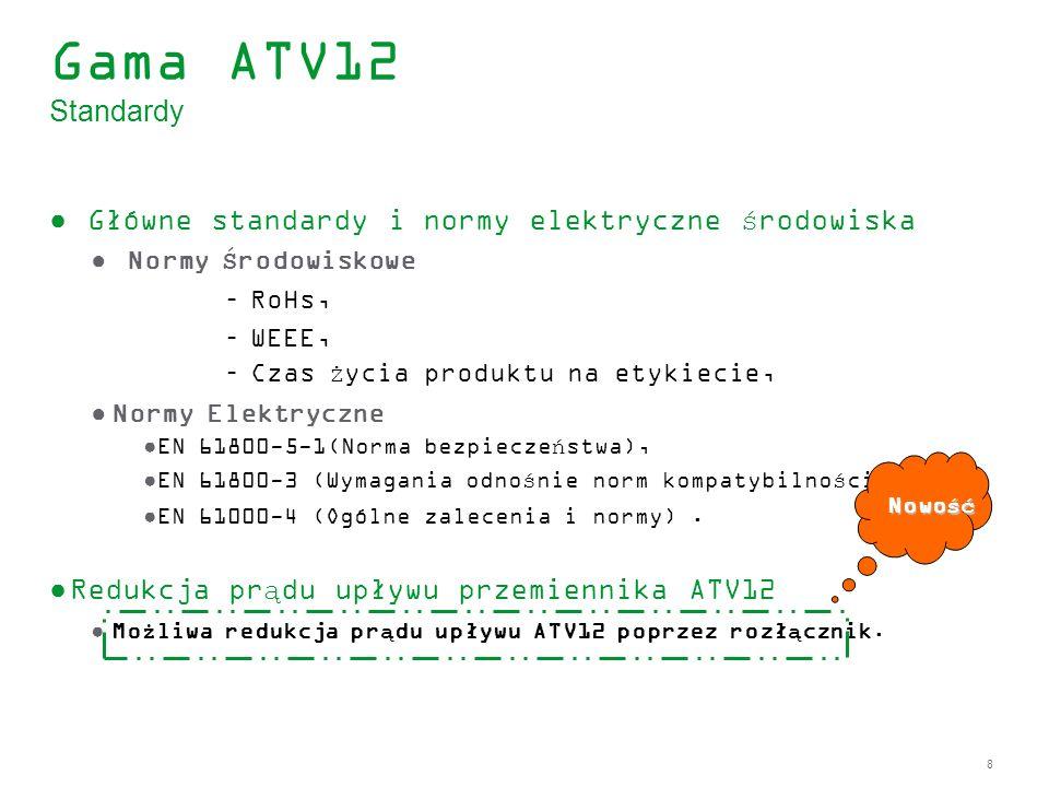Gama ATV12 Standardy Główne standardy i normy elektryczne środowiska