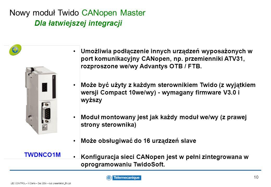 Nowy moduł Twido CANopen Master Dla łatwiejszej integracji