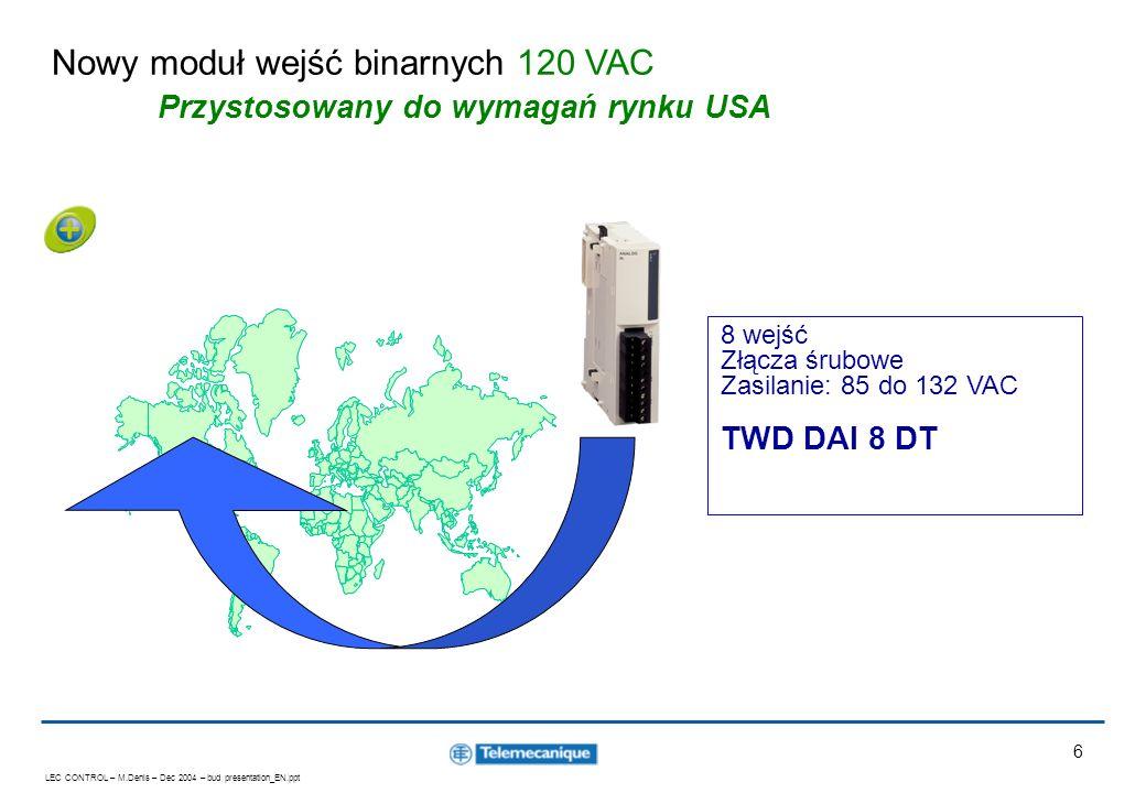 Nowy moduł wejść binarnych 120 VAC Przystosowany do wymagań rynku USA