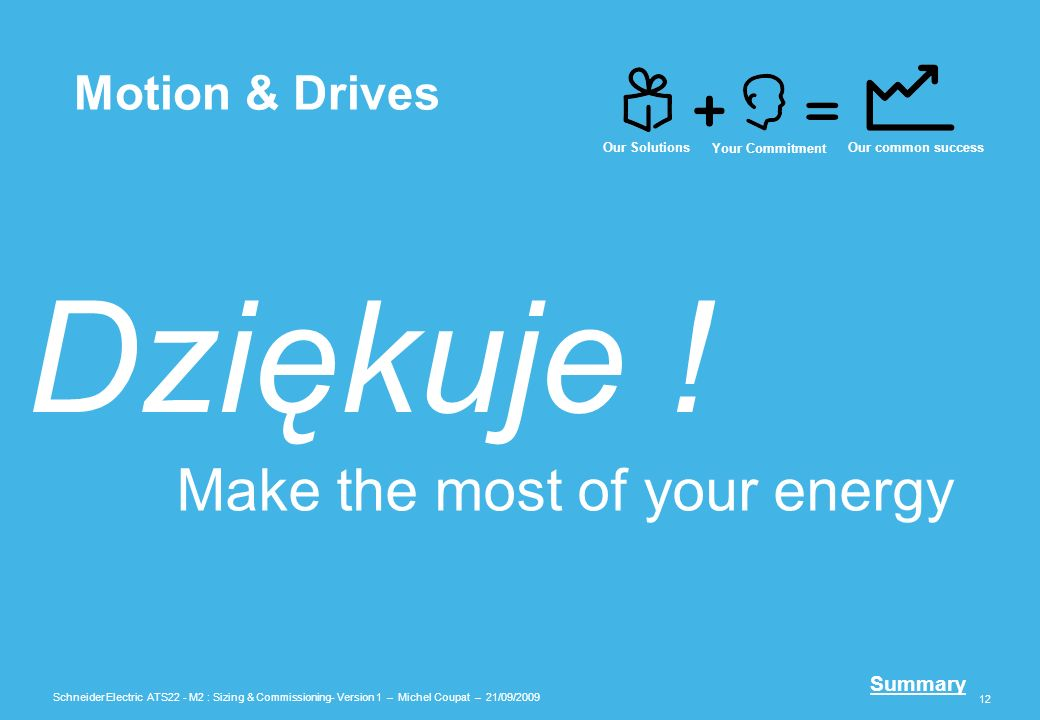 Dziękuje ! Make the most of your energy Motion & Drives Our Solutions