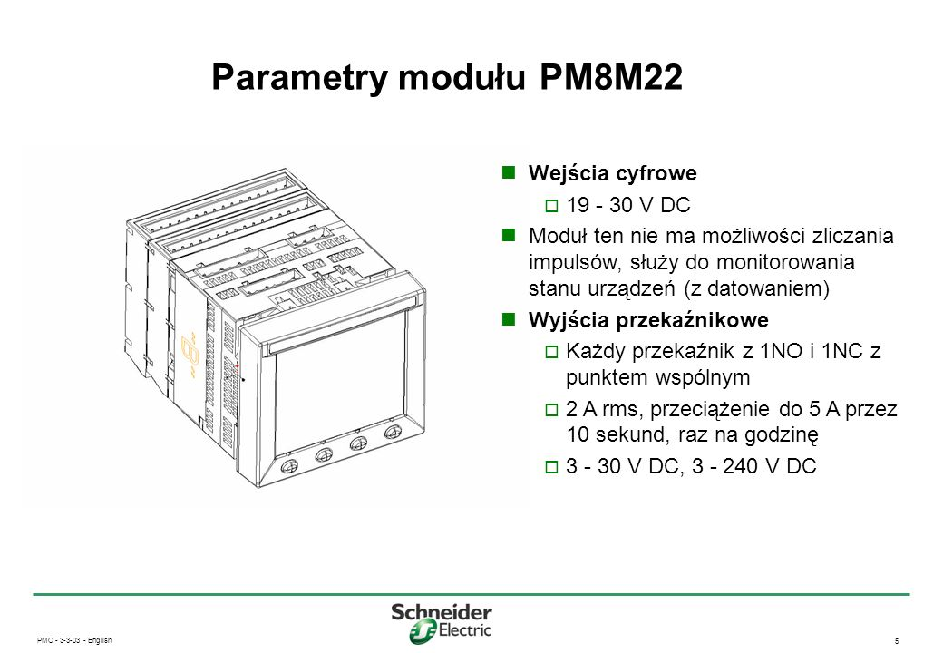 Parametry modułu PM8M22 Wejścia cyfrowe 19 - 30 V DC