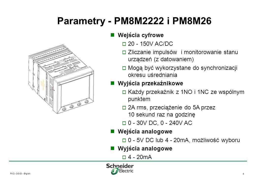 Parametry - PM8M2222 i PM8M26 Wejścia cyfrowe 20 - 150V AC/DC