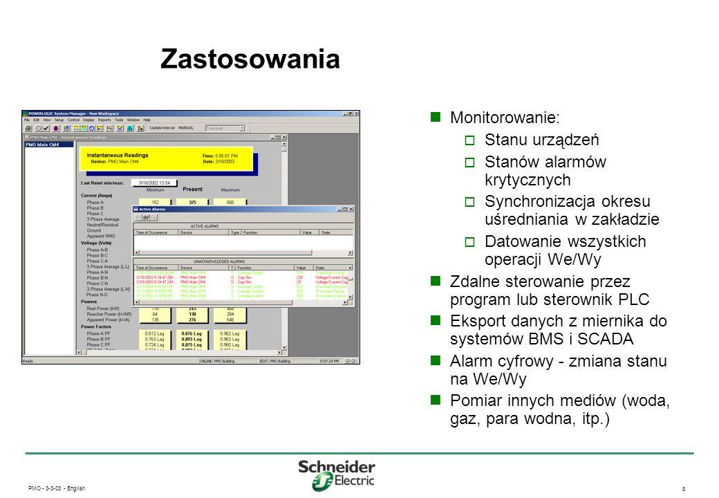 Zastosowania Monitorowanie: Stanu urządzeń Stanów alarmów krytycznych