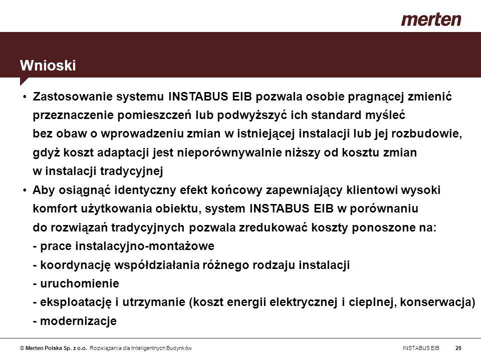WnioskiZastosowanie systemu INSTABUS EIB pozwala osobie pragnącej zmienić. przeznaczenie pomieszczeń lub podwyższyć ich standard myśleć.