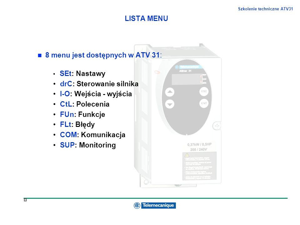 8 menu jest dostępnych w ATV 31: