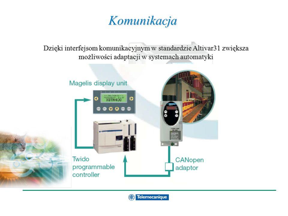 Komunikacja Dzięki interfejsom komunikacyjnym w standardzie Altivar31 zwiększa możliwości adaptacji w systemach automatyki.