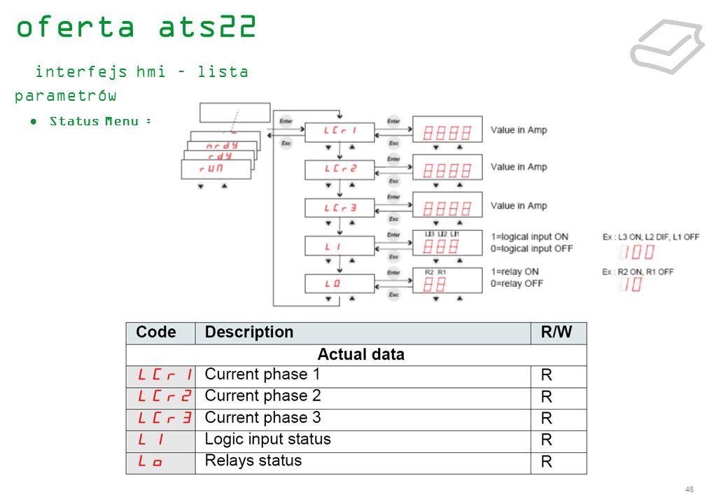 oferta ats22 interfejs hmi – lista parametrów