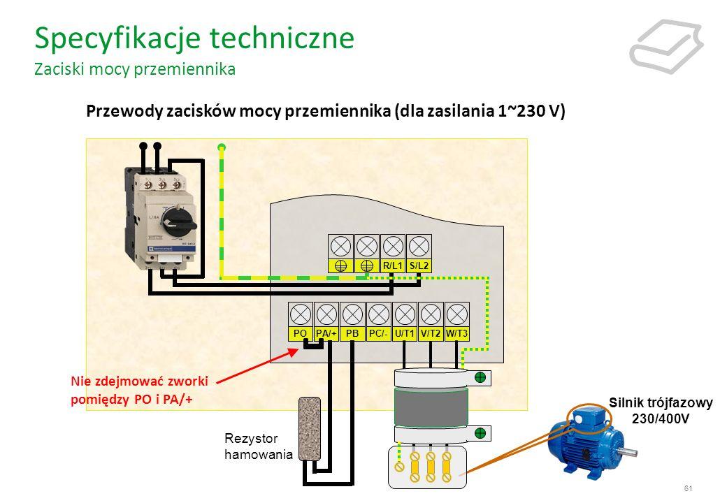 Specyfikacje techniczne Zaciski mocy przemiennika