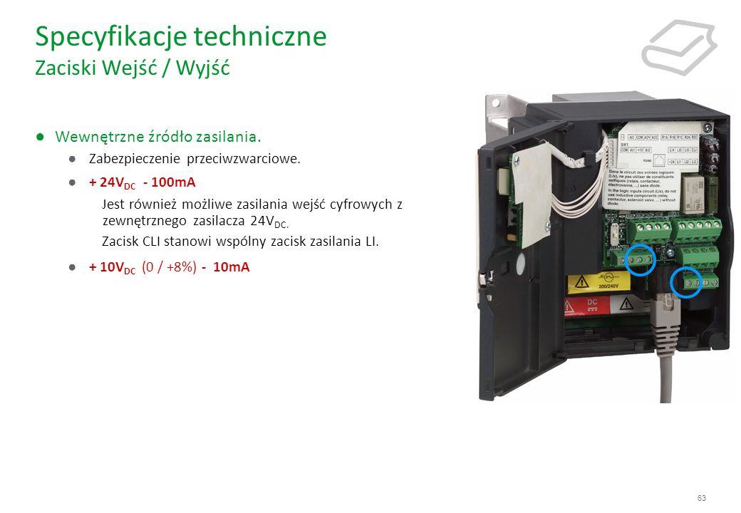 Specyfikacje techniczne Zaciski Wejść / Wyjść