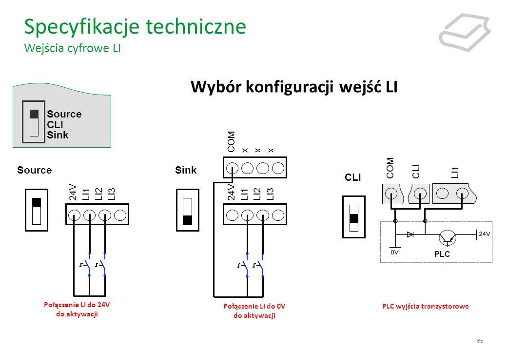 Wybór konfiguracji wejść LI