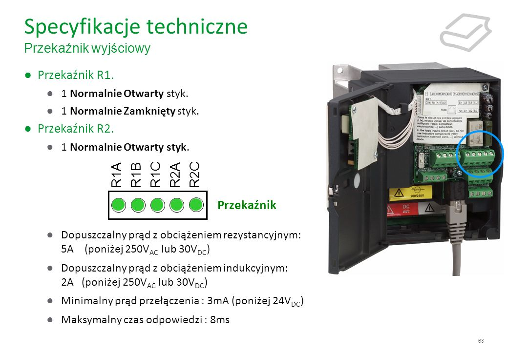 Specyfikacje techniczne Przekaźnik wyjściowy