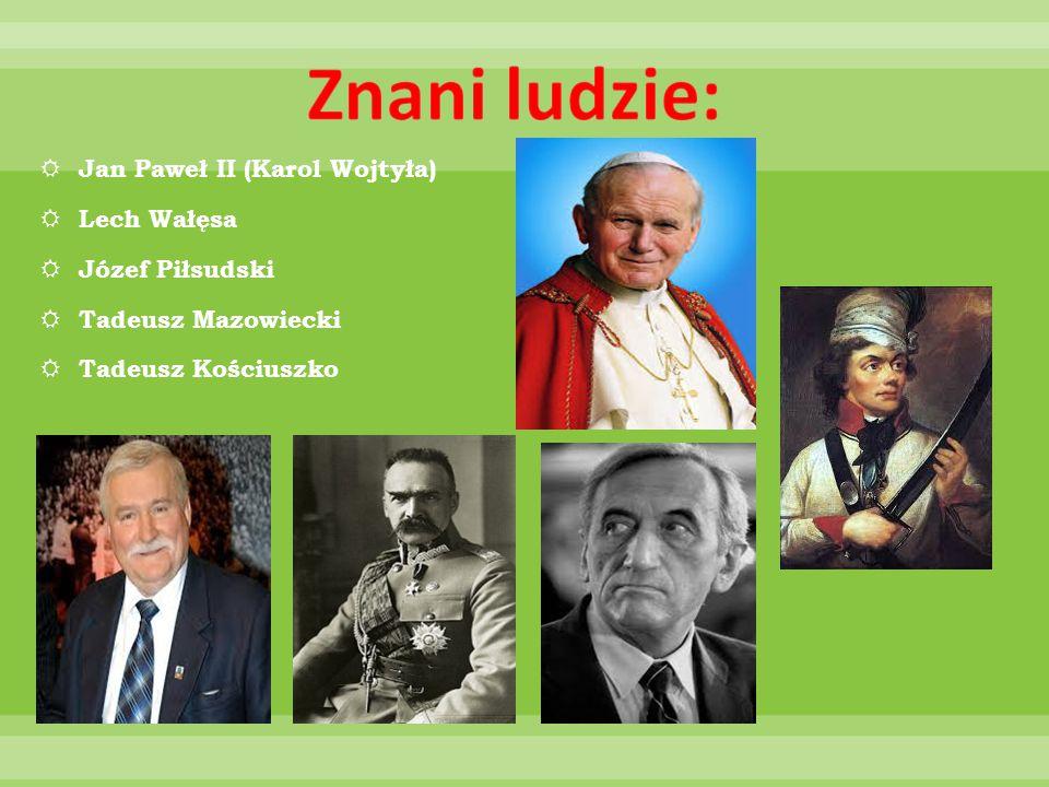 Znani ludzie: Jan Paweł II (Karol Wojtyła) Lech Wałęsa Józef Piłsudski