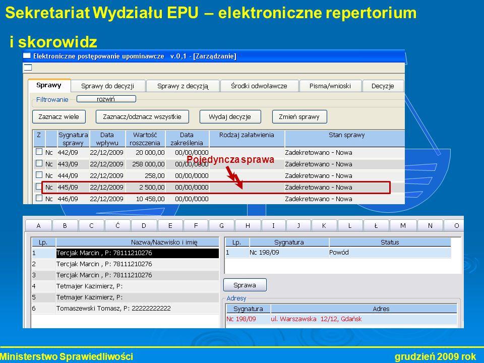 Sekretariat Wydziału EPU – elektroniczne repertorium i skorowidz