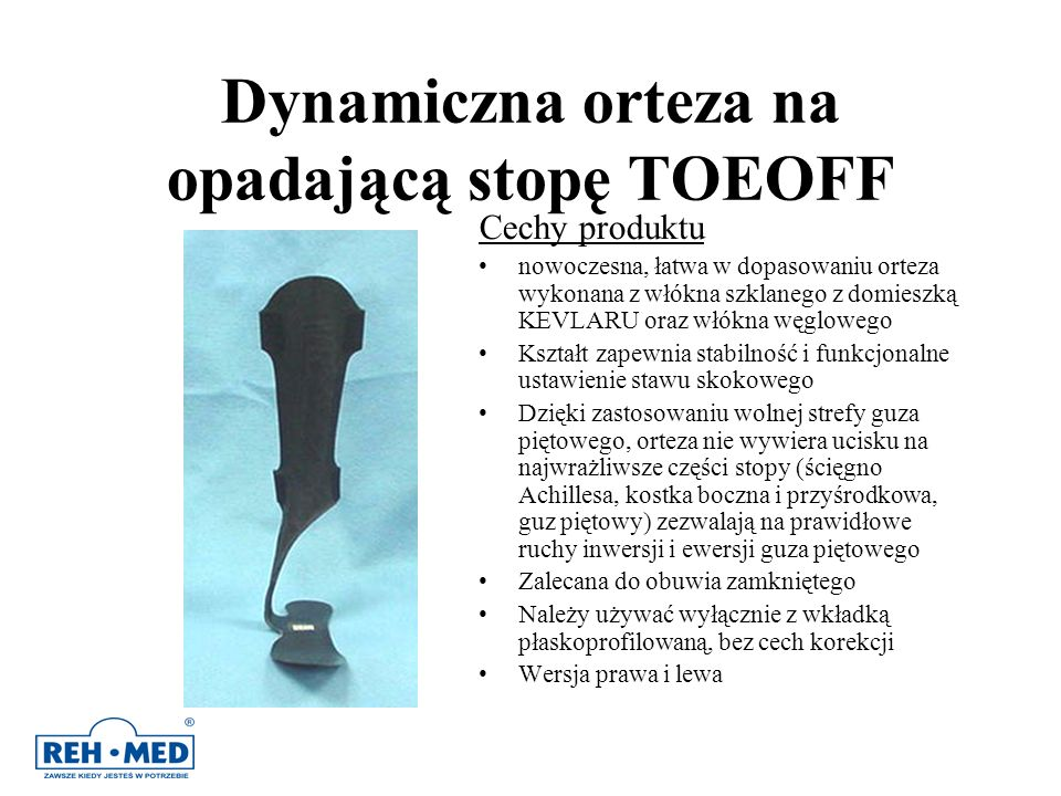 Dynamiczna orteza na opadającą stopę TOEOFF