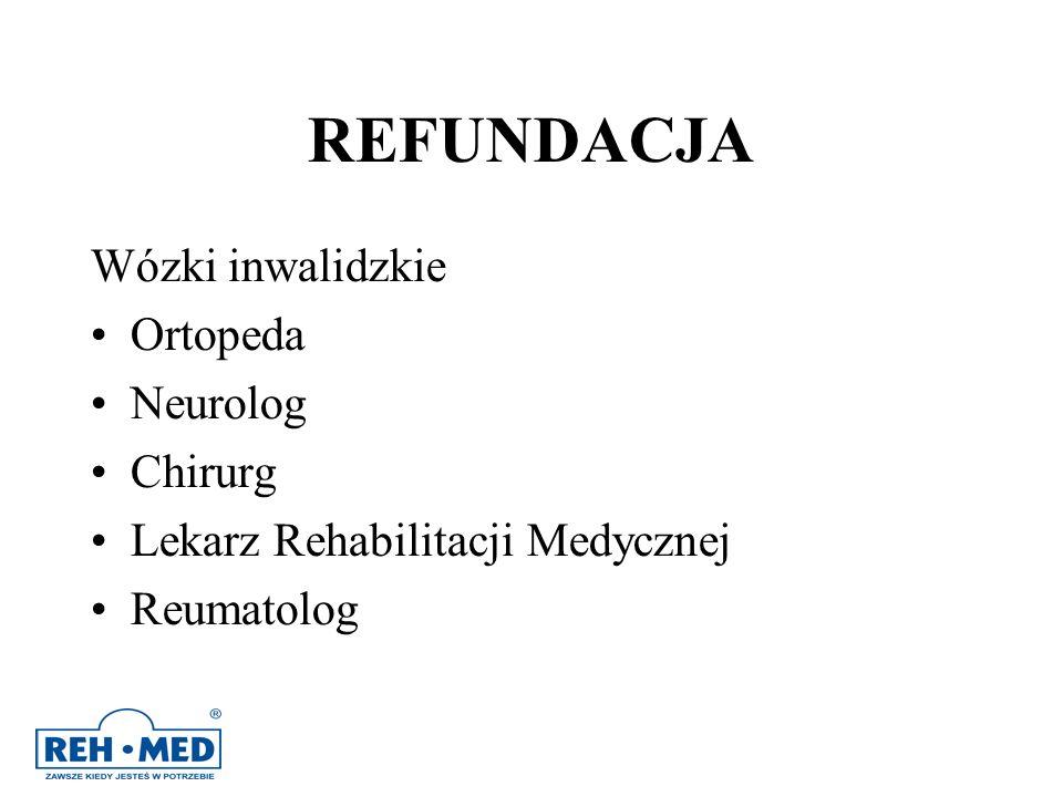 REFUNDACJA Wózki inwalidzkie Ortopeda Neurolog Chirurg