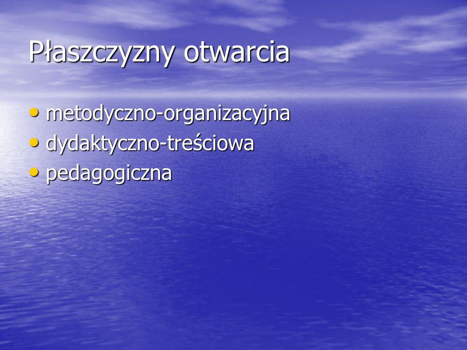Płaszczyzny otwarcia metodyczno-organizacyjna dydaktyczno-treściowa