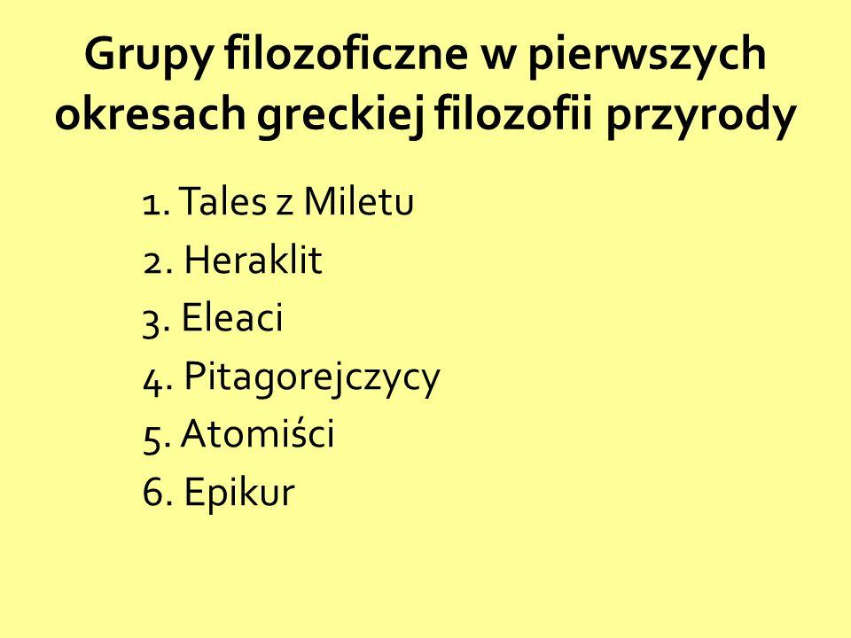 Grupy filozoficzne w pierwszych okresach greckiej filozofii przyrody