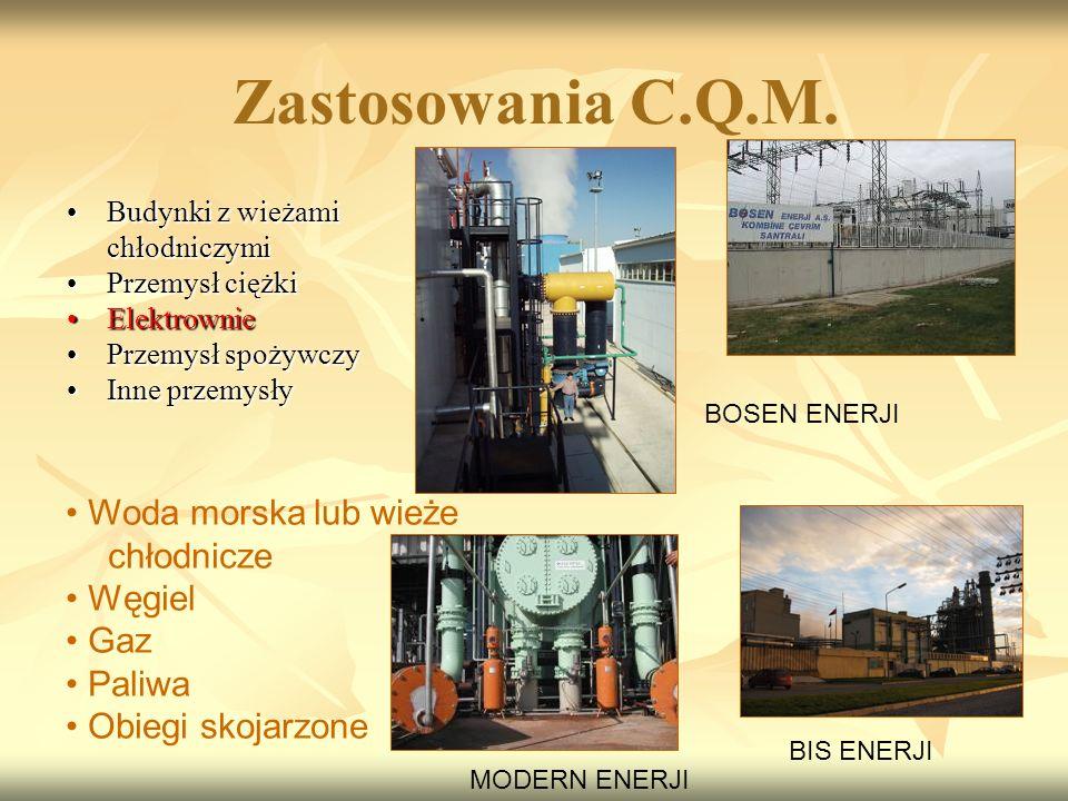 Zastosowania C.Q.M. Woda morska lub wieże chłodnicze Węgiel Gaz Paliwa