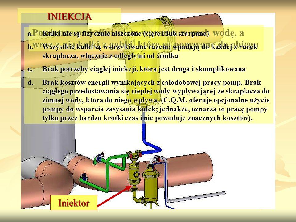 INIEKCJA Powietrze pod ciśnieniem wprawia w ruch wodę, a wraz z nią kulki z gąbki, które są porywane do obiegu.