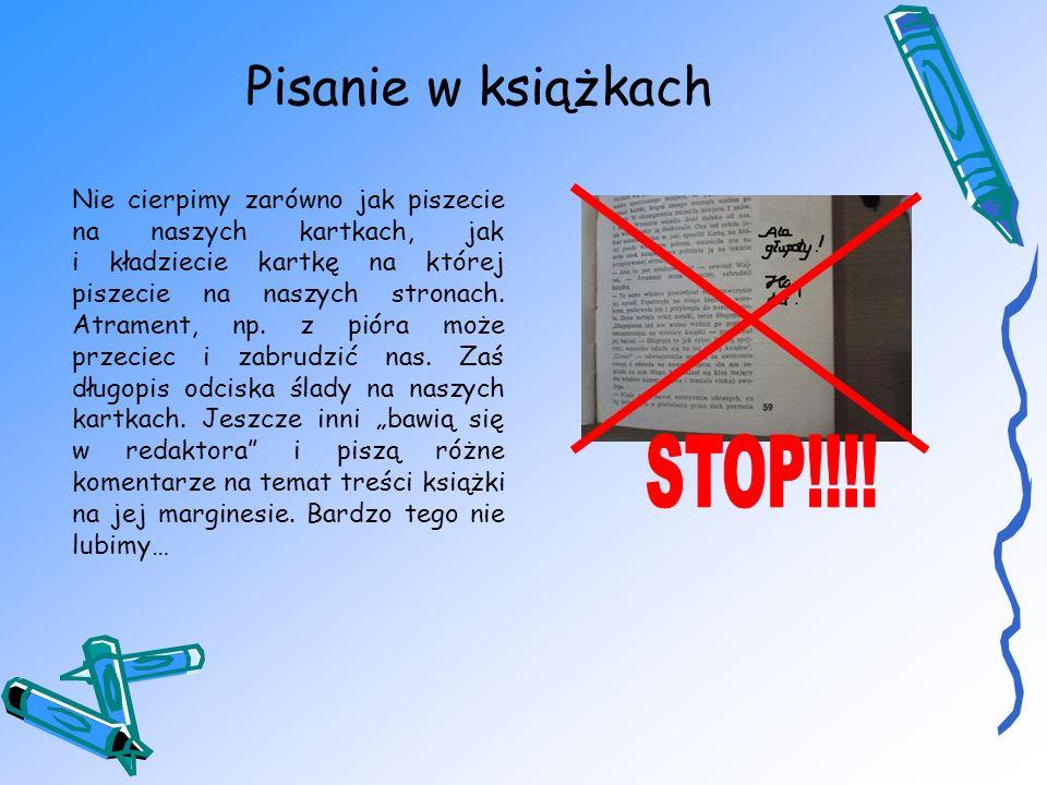 Pisanie w książkach STOP!!!!