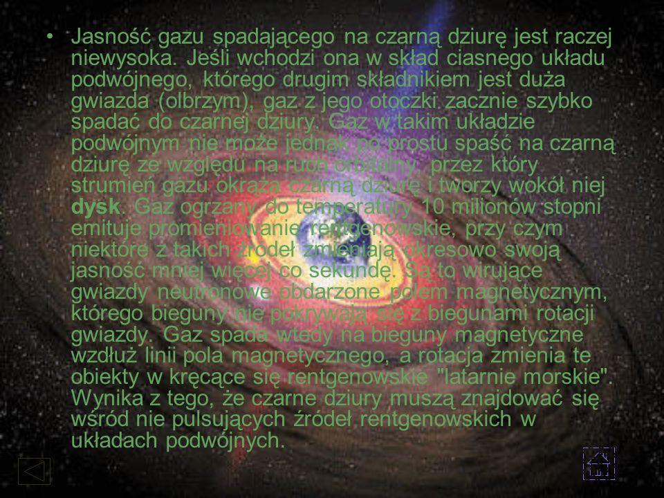Jasność gazu spadającego na czarną dziurę jest raczej niewysoka