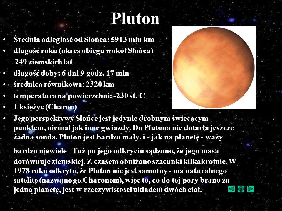 Pluton Średnia odległość od Słońca: 5913 mln km