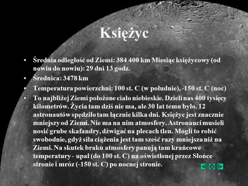Księżyc Średnia odległość od Ziemi: 384 400 km Miesiąc księżycowy (od nowiu do nowiu): 29 dni 13 godz.