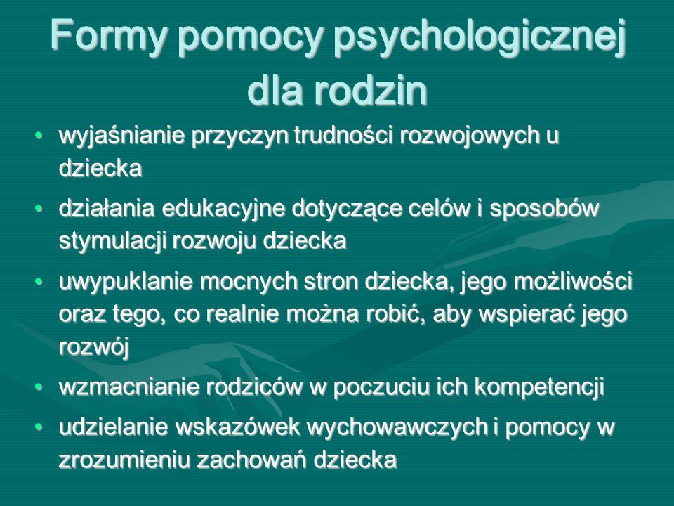 Formy pomocy psychologicznej dla rodzin