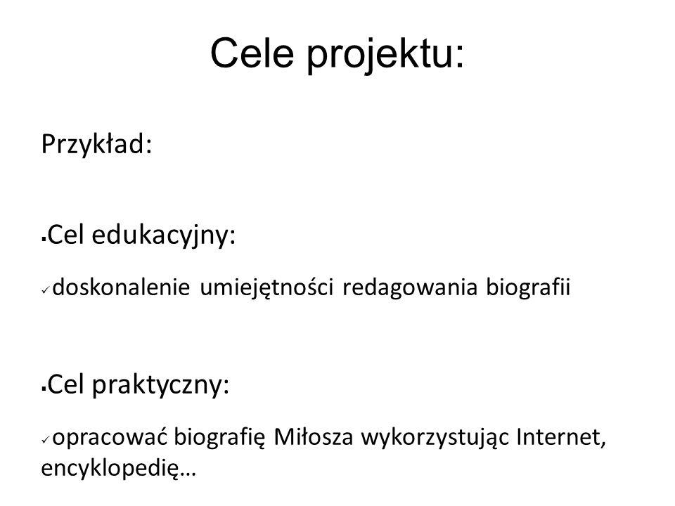 Cele projektu: Przykład: Cel edukacyjny: Cel praktyczny: