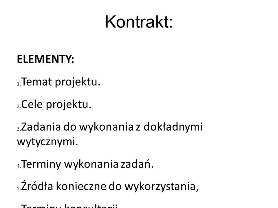 Kontrakt: ELEMENTY: Temat projektu. Cele projektu.
