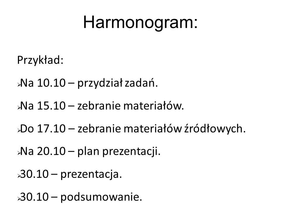 Harmonogram: Przykład: Na 10.10 – przydział zadań.