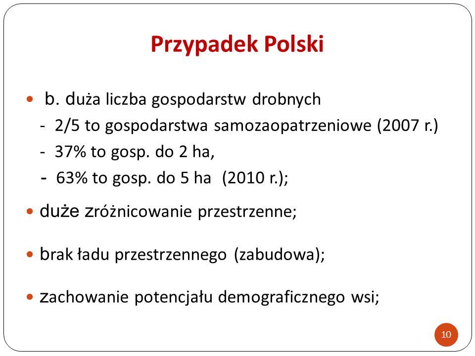 Przypadek Polski b. duża liczba gospodarstw drobnych