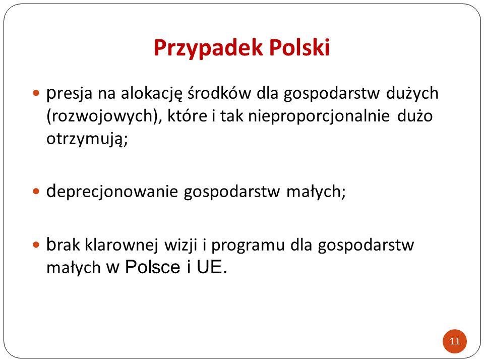Przypadek Polski presja na alokację środków dla gospodarstw dużych (rozwojowych), które i tak nieproporcjonalnie dużo otrzymują;