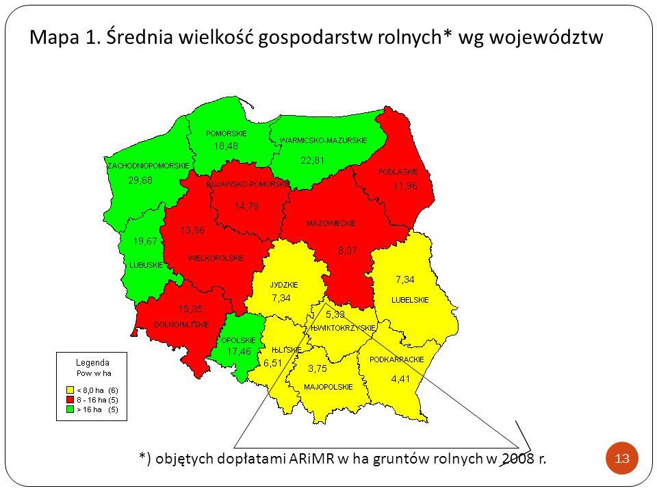 Mapa 1. Średnia wielkość gospodarstw rolnych* wg województw